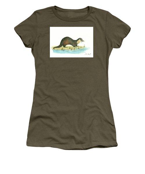 Otter Women's T-Shirt (Junior Cut) by Juan Bosco