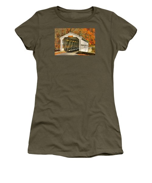 Pa Country Roads - Knox Covered Bridge Over Valley Creek No. 2a - Valley Forge Park Chester County Women's T-Shirt (Junior Cut) by Michael Mazaika