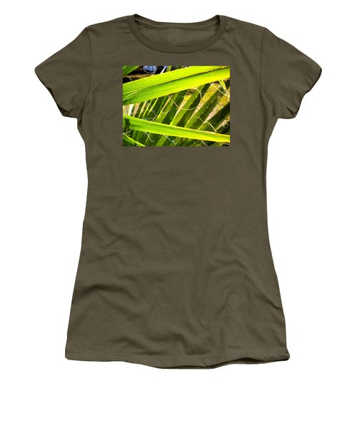 Women's T-Shirt (Junior Cut) featuring the painting Palmetto 3 by Renate Nadi Wesley