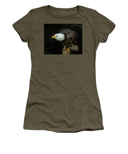 Perched Bald Eagle Women's T-Shirt (Junior Cut) by CR Courson