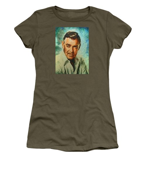Women's T-Shirt (Junior Cut) featuring the digital art Portrait Of Clark Gable by Charmaine Zoe