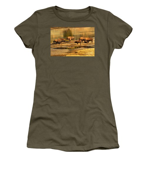 Women's T-Shirt (Junior Cut) featuring the photograph Gathering To Cross The Yellowstone River by Adam Jewell