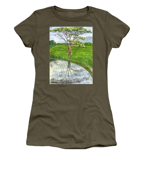 Women's T-Shirt (Junior Cut) featuring the painting Rain Tree On The Way To Ubud Bali Indonesia by Melly Terpening