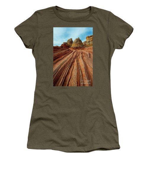 Women's T-Shirt (Junior Cut) featuring the photograph Red Desert Lines by Mike Dawson