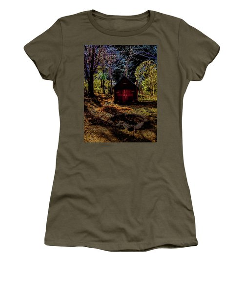Red Shed Women's T-Shirt (Junior Cut) by Randy Sylvia