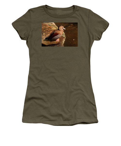 Women's T-Shirt (Junior Cut) featuring the photograph Ringed Teal On A Rock by Chris Flees