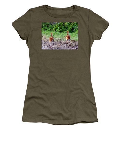Sandhill Crane Chicks 000 Women's T-Shirt (Junior Cut) by Chris Mercer