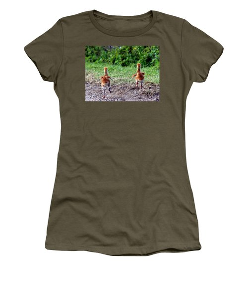 Sandhill Crane Chicks 000 Women's T-Shirt (Athletic Fit)