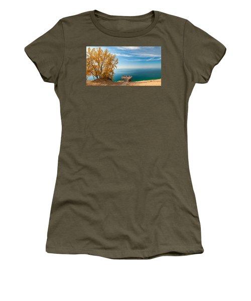 Sleeping Bear Overlook Women's T-Shirt (Junior Cut) by Larry Carr