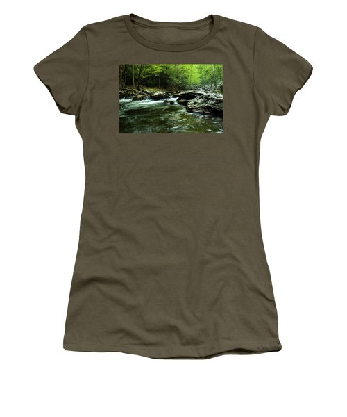 Women's T-Shirt (Junior Cut) featuring the photograph Smoky Mountain River by Jay Stockhaus