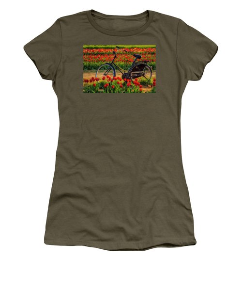 Women's T-Shirt (Athletic Fit) featuring the photograph Springtime Tulips And Bike by Susan Candelario