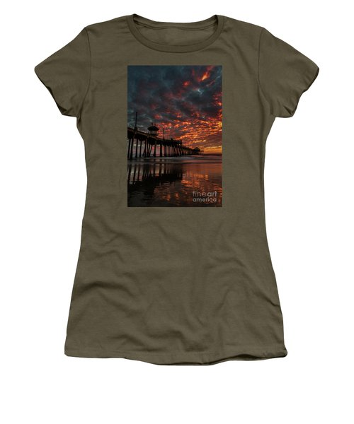 Sunset Over Huntington Beach Pier Women's T-Shirt (Athletic Fit)