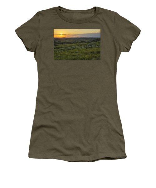 Sunset Over Killdeer Badlands Women's T-Shirt (Athletic Fit)