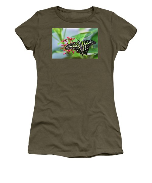 Women's T-Shirt (Athletic Fit) featuring the photograph Tailed Green Jay Butterfly  by Saija Lehtonen