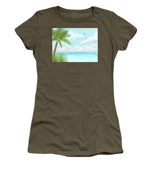 Women's T-Shirt (Athletic Fit) featuring the digital art The Beach by Darren Cannell