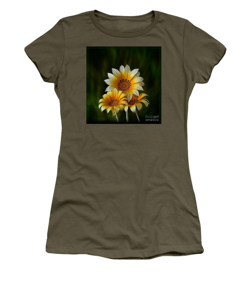 Women's T-Shirt (Junior Cut) featuring the photograph Triple Sunshine by Shirley Mangini