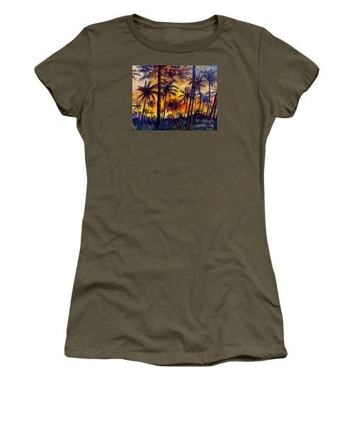 Tropical Sunset Women's T-Shirt (Junior Cut) by Lou Ann Bagnall