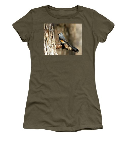 Tufted Titmouse On Branch Women's T-Shirt (Junior Cut) by Sheila Brown
