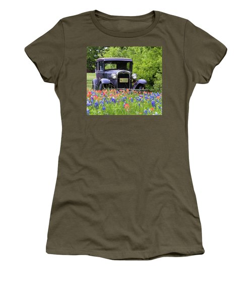 Women's T-Shirt (Athletic Fit) featuring the photograph Vintage Model T Ford Automobile by Robert Bellomy