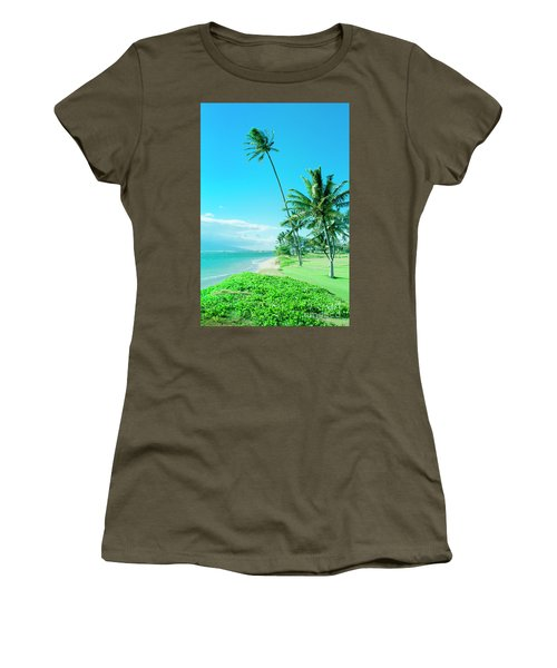 Women's T-Shirt (Athletic Fit) featuring the photograph Waipuilani Beach Kihei Maui Hawaii by Sharon Mau