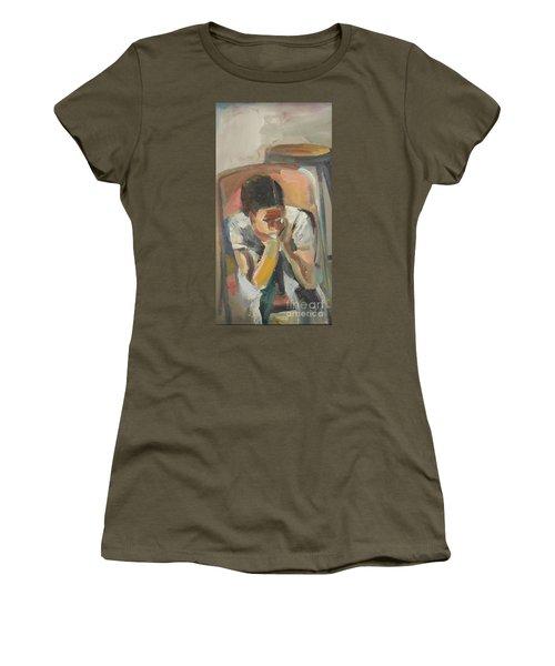 Women's T-Shirt (Junior Cut) featuring the painting Wait Child by Daun Soden-Greene