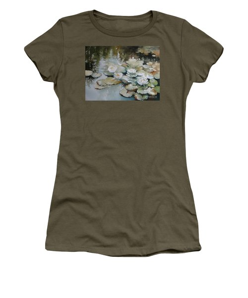 Women's T-Shirt (Junior Cut) featuring the painting Waterlilies by Elena Oleniuc