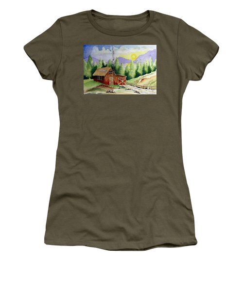 Wilderness Cabin Women's T-Shirt (Junior Cut) by Jimmy Smith