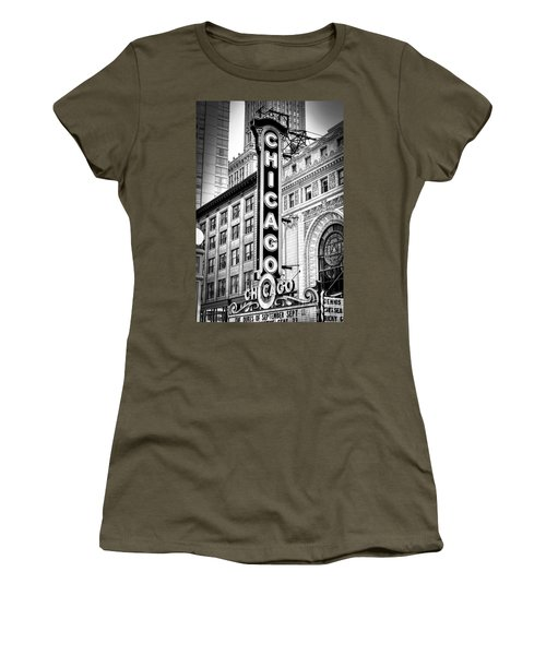 1077 Chicago Theater Black And White Women's T-Shirt