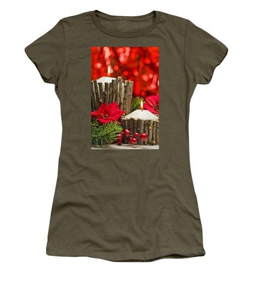 Women's T-Shirt (Junior Cut) featuring the photograph Autumn Candles by Ulrich Schade