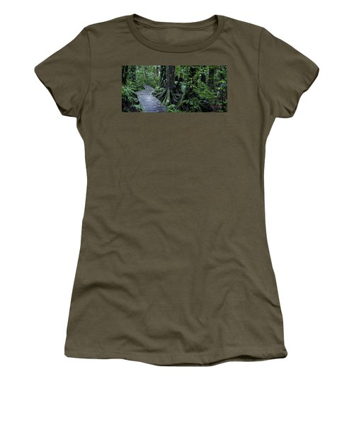 Women's T-Shirt (Junior Cut) featuring the photograph Forest Boardwalk by Les Cunliffe