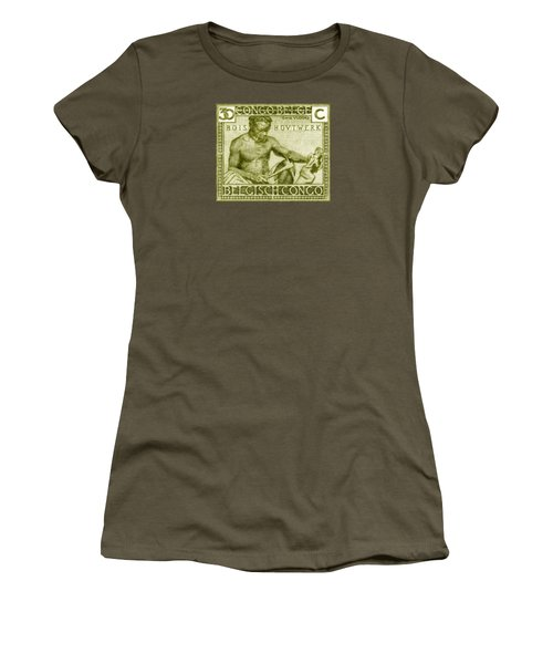Women's T-Shirt (Junior Cut) featuring the painting 1925 Belgian Congo Native Woodcarving by Historic Image