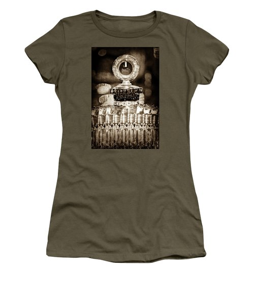Women's T-Shirt (Junior Cut) featuring the photograph 1928 Daimler Hood Ornament - Moto Meter -0616s by Jill Reger