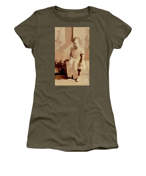 Women's T-Shirt (Junior Cut) featuring the photograph 1940s Little Girl by Linda Phelps