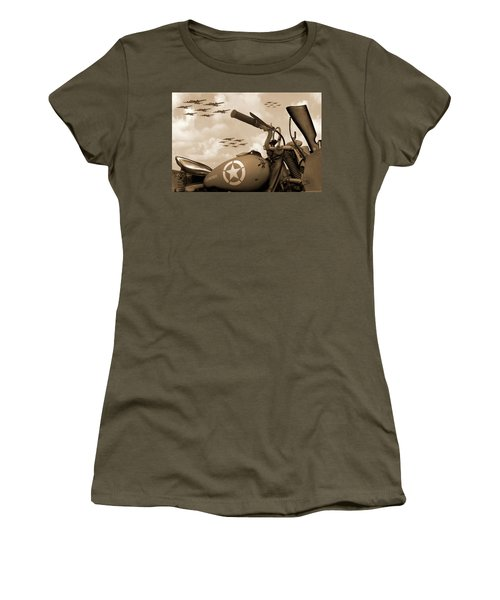 Women's T-Shirt (Junior Cut) featuring the photograph 1942 Indian 841 - B-17 Flying Fortress - H by Mike McGlothlen