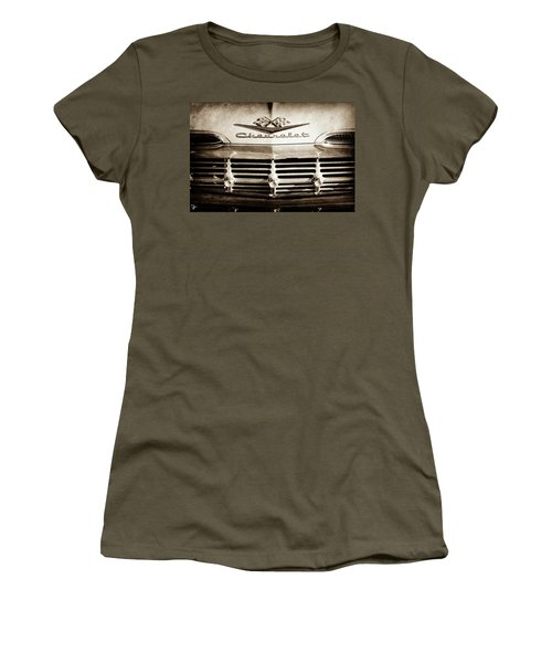 Women's T-Shirt (Junior Cut) featuring the photograph 1959 Chevrolet Impala Grille Emblem -1014s by Jill Reger