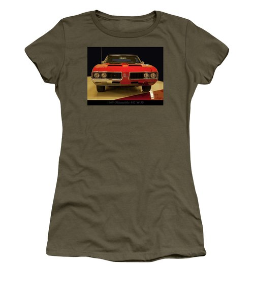 Women's T-Shirt (Junior Cut) featuring the photograph 1969 Oldsmobile 442 W-30 by Chris Flees