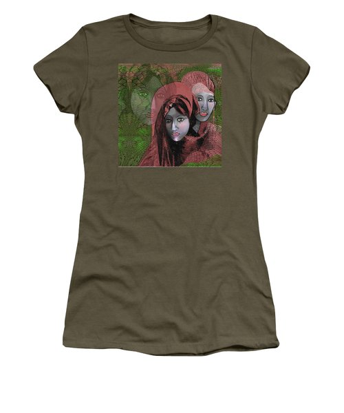 Women's T-Shirt (Junior Cut) featuring the digital art 1974 - Women In Rosecoloured Clothes - 2017 by Irmgard Schoendorf Welch