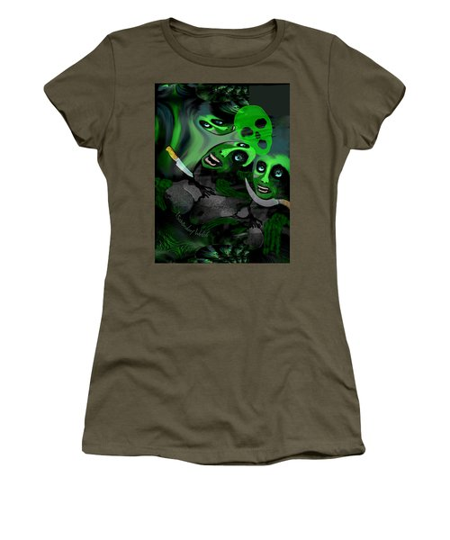 Women's T-Shirt (Junior Cut) featuring the digital art  1982 Violence And Fear 2017 by Irmgard Schoendorf Welch