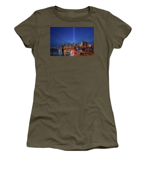 Women's T-Shirt (Athletic Fit) featuring the photograph 911 Tribute In Light In Nyc by Susan Candelario