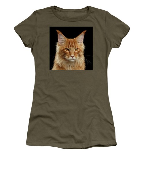 Women's T-Shirt featuring the photograph Angry Ginger Maine Coon Cat Gazing On Black Background by Sergey Taran