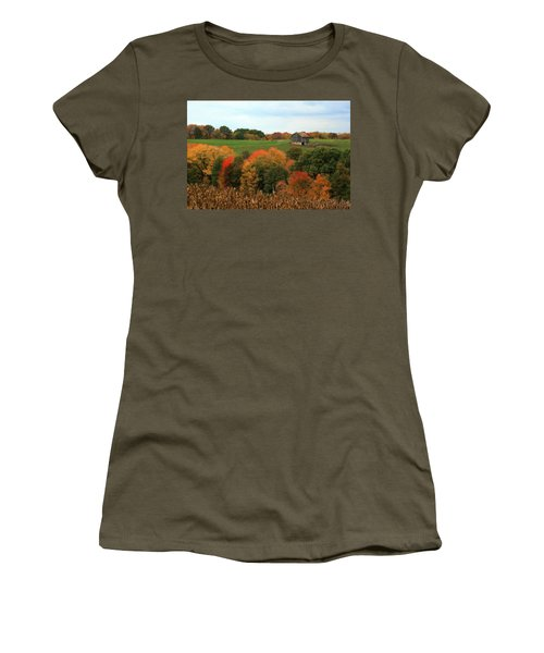 Barn On Autumn Hillside Women's T-Shirt (Junior Cut) by Angela Rath