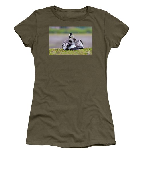 Barnacle Goose With Chick In The Rain Women's T-Shirt