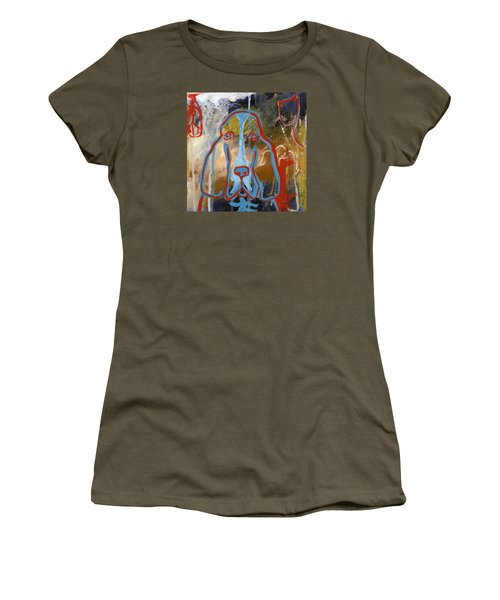 Women's T-Shirt (Junior Cut) featuring the painting Basset Hound  by Leanne WILKES