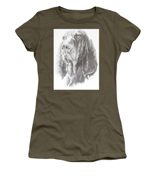 Women's T-Shirt (Junior Cut) featuring the drawing Black And Tan Coonhound by Barbara Keith
