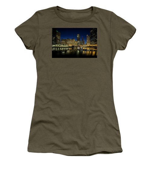 Chicago River And Skyline At Dawn Women's T-Shirt