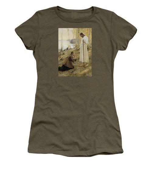 Christ And Mary Magdalene Women's T-Shirt (Junior Cut) by Albert Edelfelt