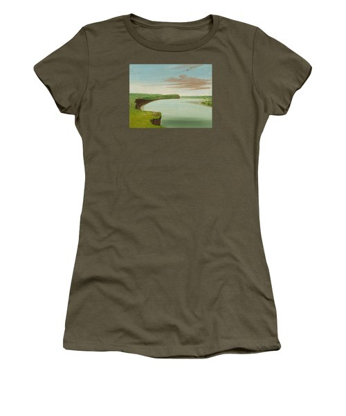 Distant View Of The Mandan Village Women's T-Shirt (Junior Cut) by George Catlin
