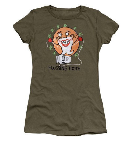 Women's T-Shirt featuring the painting Flossing Tooth by Anthony Falbo
