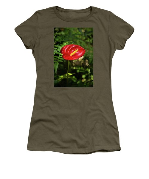 Red Anthurium Flower Women's T-Shirt (Athletic Fit)