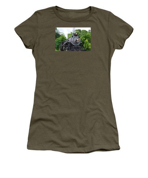 Steam Engline Number 630 Women's T-Shirt (Junior Cut) by Linda Geiger